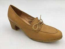 Vintage 1970s Bally Tan Beige Leather Lace Up Crepe Heels size 6N Italy made B1