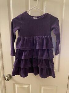 Hanna Andersson Purple Velour Ruffle Dress Long Sleeve Girls Size 120 US 6-7