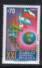 CHILE 1991 STAMP # 1511 MNH FLAGS O.E.A.