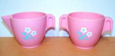 1982 Fisher Price Tea Set Pink Flowered Creamer & Sugar Bowl - VGC