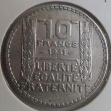 10 francs Turin 1931 argent : TB : pièce de monnaie française n°11
