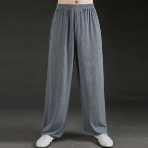 Silk Kung Fu Tai Chi Pants Trousers Loose Martial Arts Wing Chun Pants Stripes