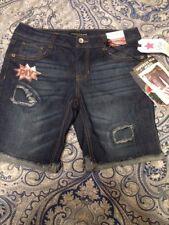 Imperial Star blue DIY-Patch Denim jean Bermuda Shorts Monty, Size 14