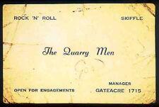 THE BEATLES REPRO 1957 THE QUARRY MEN BUSINESS CARD .THE QUARRYMEN . JOHN LENNON