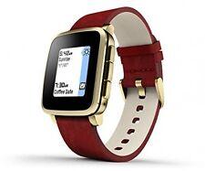 Pebble 511-00036 temps acier e-paper display or avec rouge bande en cuir