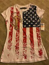 COOGI Women T-Shirt Flag Red White Blue Patriotic Scoop Neckline Tee Studs NEW