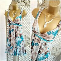 JANE NORMAN  UK 8 Floral Print Fit & Flare Chiffon Mini Dress ~Free Postage~