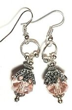 Drop Dangle Silver Pink Crystal Earrings Glass Bead Tibetan Style