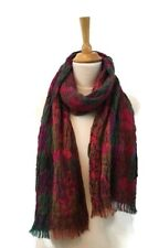 Ladies Fushia Pink Winter Scarf Wrap Floral Layered Puffy Flowers Stretch