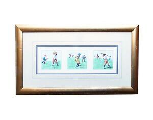 Framed Golfing Print Cartoon Golfer Caricature Gift Golf Wall Art Illustrations