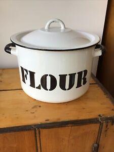 Vintage Retro white metal enamel round flour bin container storage 27cm X 18cm