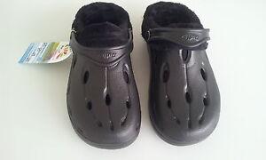 Chung Shi Duflex DUX schwarz Sandalen Clogs Hausschuhe gefüttert Kunstfell 36/37