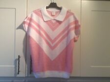 Ladies size bust 32/34 vintage Primark pink & white acrylic short sleeve jumper