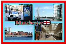 MANCHESTER - SOUVENIR NOVELTY FRIDGE MAGNET - SIGHTS / FLAG - BRAND NEW / GIFT