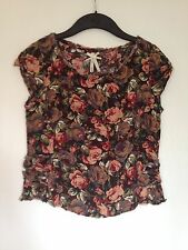 Ladies Next Brown Floral Short Sleeve Cropped Top - Size 8, Worn Once!