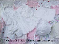 "BABYDOLL HANDKNIT DESIGNS KNITTING PATTERN F114 COAT SET 16-22"" DOLL / 0-3M BABY"
