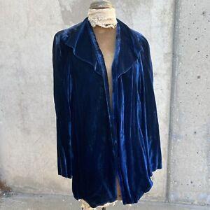 Antique 1930s Dark Blue Silk Velvet Dress Coat Chiffon Liner Jacket Vintage 1920