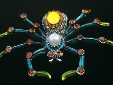 """Teal Green Pearl Venomous Brown Recluse Black Widow Spider Pin Brooch Jewelry 3"""""""