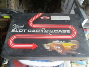 VINTAGE OFFICIAL SLOT CAR CASE WITH MIXED PARTS,TIRES,CARS AND MORE AS IS SHOWN