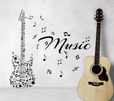 Guitar Wall Decals Music Instrument Notes Decal Vinyl Stickers Home Decor 210