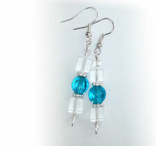 ICE FROZEN COLD BLUE CLEAR SQUARE BEAUTIFUL SILVER COLOR EARRING PAIR