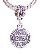 Jewish Star of David Medallion Dangle Charm for Silver European Bead Bracelets