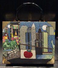 New York Beaded Cigar Box Clutch Purse Handbag Bag w/ Plastic Bamboo Handle