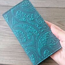 Paisley Pattern Teal Leather Checkbook Cover Oberon Design COMBINED SHIPPING