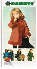 PUBLICITE ADVERTISING  1975    RAINETT  vetements enfants  manteaux