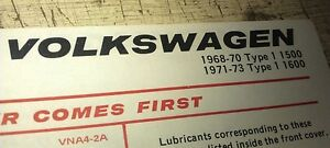 1968- 1973 VW Volkswagen BEETLE   - ESSO Australia Lube Chart