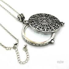 "New Silver Magnifying Glass Round Filigree Pendant 31"" Chain Necklace SJ010S"