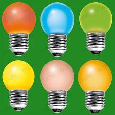 10x 15W Coloured Round Golf Ball Light Bulbs, Edison Screw Cap, ES, E27 Lamp