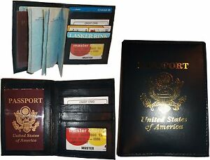 Lot of 3 New 4 credit cards + ID Lamb skin USA Leather passport case wallet BNWT