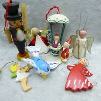 Vintage Wood Christmas Ornament Lot Angel Santa Erzgebirge Italy Germany Small C