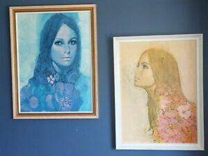 Michael Johnson Think Amber & Indigo Vintage Mid Century Art