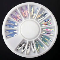 Nail Art 3D Glitter Charms Crystal Rhinestone Acrylic Tips DIY Decoration Wheel