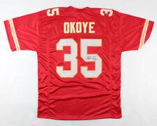 Christian Okoye Signed Red Kansas City Chiefs Jersey (JSA COA) NFL
