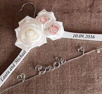Personalised White Wedding Dress Coat Hanger Roses Any Colour Bride Bridesmaid❤