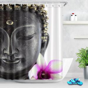 Buddha Statue Pink Flower Shower Curtain Liner Waterproof Fabric Bathroom Set