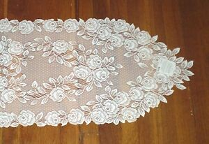 """Heritage Lace 14"""" x 60"""" Tea Rose Table Runner White or Ecru  100% Polyester"""