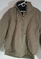 Carhartt Hooded Work Jacket Mens Size 2XL Brown Quilted Lining Full Zip 5976