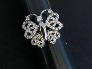 QUALITY Sterling Silver Butterfly Ring Accented W/CZ's Peace Symbol Wings Sz7.5