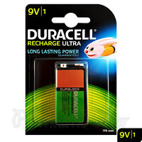 1 x Duracell Rechargeable 9V battery 170 mAh Block Transistor 6HR61 DC1604 PP3