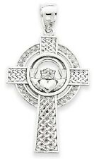 14kt White Gold Celtic Claddagh Cross Pendant-Beautiful