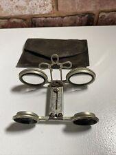 More details for vintage folding theatre binocular glasses in original leather case.