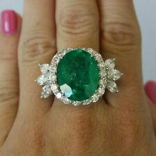 925 sterling silver statement party gift Oval green right hand ring solid