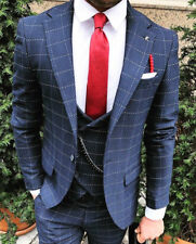 Designer Business Blue Checkered Suit Jacket Trousers Vest FITTED SLIMFIT 52