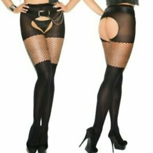 Opaque Crotchless Pantyhose w/Diamond Net Top! Plus & One Size Adult Woman