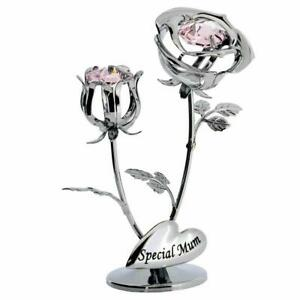 CRYSTOCRAFT SWAROVSKI CRYSTAL SPECIAL MUM DOUBLE ROSE ORNAMENT SP216