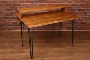 Hairpin Leg Desk, Side Table, Dining Table Solid Wood Retro Rustic, Handmade